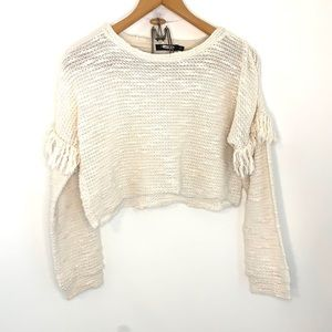 Maven West cropped cream sweater with fringe